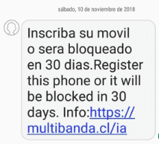 inscriba su movil o sera bloqueado